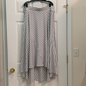 Striped high-low maxi skirt